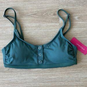 Ribbed Snap Front Bralette Full Bikini Set M